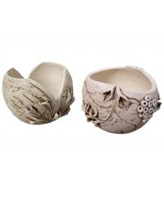 Rutulys šamoto keramikos vazonas