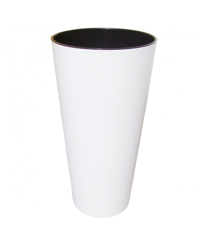 Tubus aukštas plast. vazonas baltas