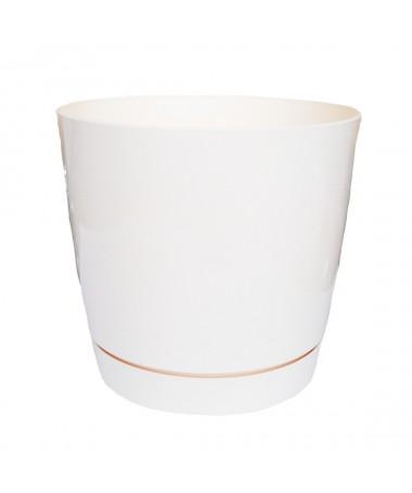 Coubi plastiko vazonas su padėklu kreminis