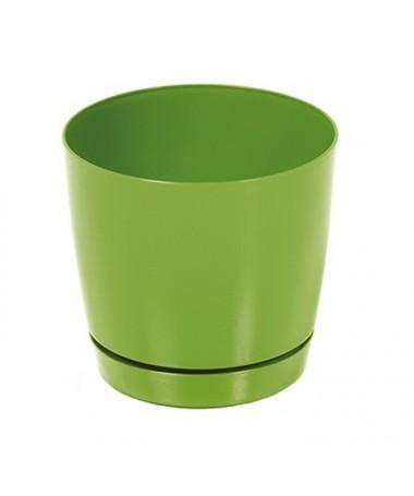 Coubi plastiko vazonas su padėklu žalias