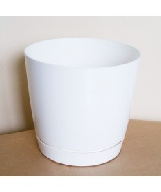 Coubi plastiko vazonas su padėklu baltas