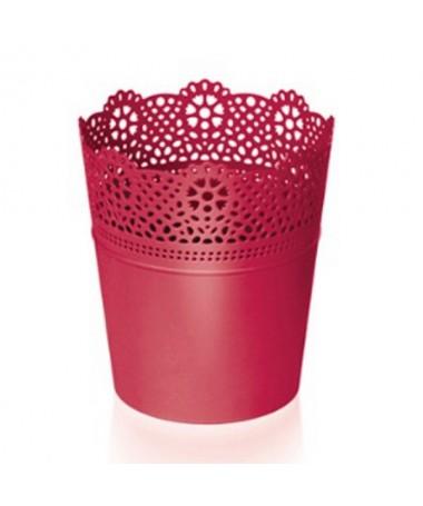 Lace plastiko vazonas raudonas