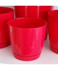 Coubi plastiko vazonas su padėklu raudonas
