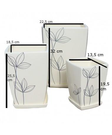Kvadratas aukštas keramikos vaz. su pad. dramblio kaulo sp.