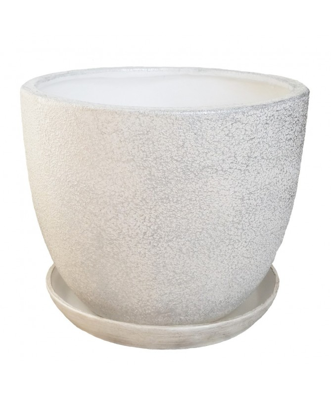 Clasik 30 keramikos vazonas su padėklu baltas su sidabro sp. dekoru