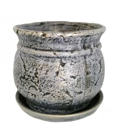 Senovinis pilkos spalvos keramikos vazonas  su padėklu