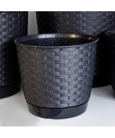 Ratolla plastiko vazonas su padėklu juodas