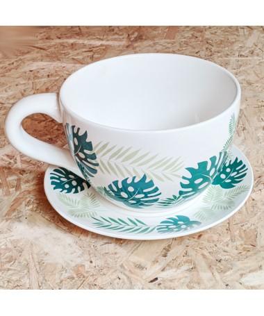Keramikos vazonas su ąsele žali lapeliai