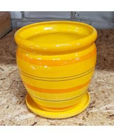 Keramikos vazonas su padėklu geltonos spalvos