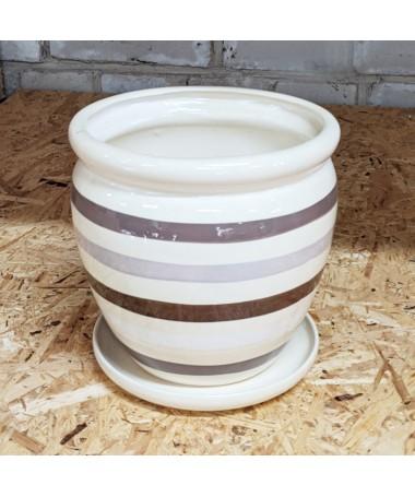Keramikos vazonas su padėklu kreminės spalvos