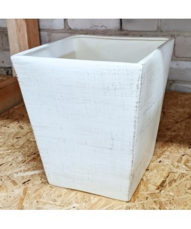 Kvadratas 32 cm keramikos vazonas baltas
