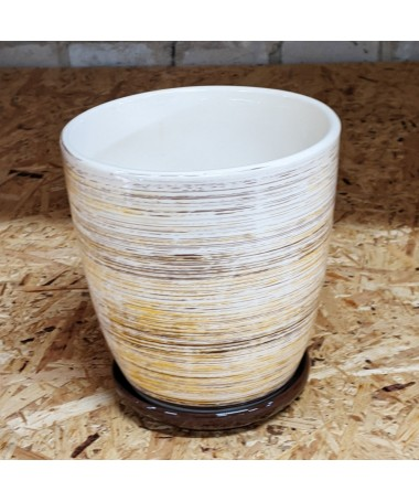 Keramikos vazonas su lėkštele geltonų ir rudų sp. dryželiais