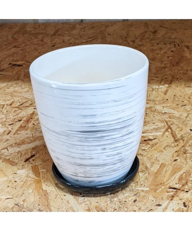 Keramikos vazonas su lėkštele baltas su juodais dryželiais